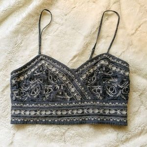 American Eagle Embroidered Denim crop top